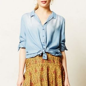 Anthropologie Cloth & Stone Chambray Hi-Low Shirt